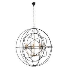 Extra Large Black Brass Iron Orb Pendant Light