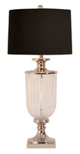 Glass Nickel Table Lamp - Black