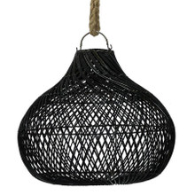 Rattan Bulb Pendant Light - Black