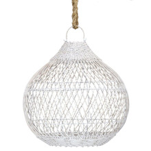 Rattan Teardrop Shaped Pendant Light - White