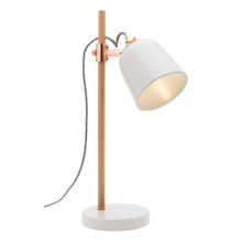 Cuba Timber and Metal Table Lamp in White