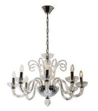 Traditional Glass 8 Light Pendant Chandelier