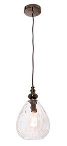 Genoa Dimpled Glass Pendant Light in Clear Shade