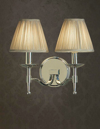 Stanford 2 Light Polished Nickel Wall Lamp in Shimmer Grey