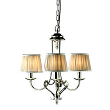 Zoya 3 Light Nickel Chandelier by Viore Design in Shimmer Grey
