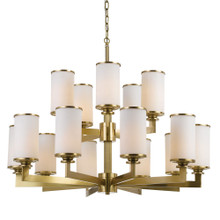 Brass Opal Candle 15 Light Pendant Chandelier