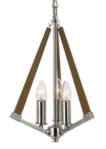 Chrome Ash 3 Light Timber Pendant Light