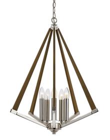 Chrome Ash 5 Light Timber Pendant Light