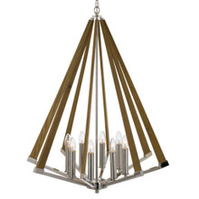 Chrome Ash 8 Light Timber Pendant Light