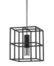 Black Brass Cage 1 Light Pendant Light