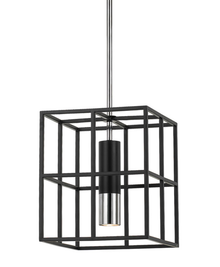 Black Brass Cage 1 Light Pendant Light