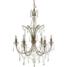 St Pierre 6 Arm Antique Gold Chandelier