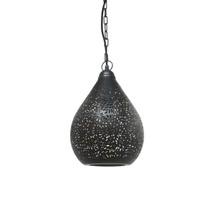 Aqua Black Perforated Teardrop Pendant
