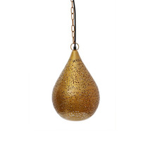 Aqua Brass Perforated Teardrop Pendant