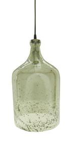 Lustre Glass Flagon Stone Effect Pendant Light - Green