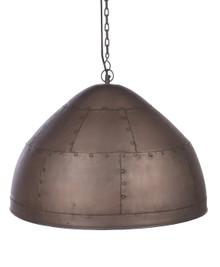 York Large Copper Iron Riveted Dome Pendant Light