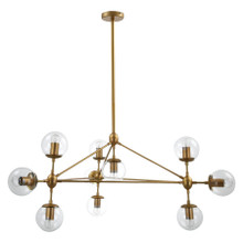 Replica Jason Miller Modo 10 Bulb Chandelier - Gold / Brass in Clear Shades - Taken direct shot