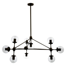 Replica Jason Miller Modo 10 Bulb Chandelier - Black with Clear Shades - Taken direct shot