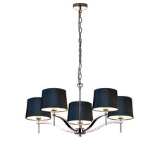 Grace 5 Light Chandelier-Black Linen Shade