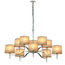 Grace 10 Light Chandelier-Natural Linen Shade