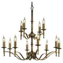 Stanford 12 Light Candle Brass Chandelier