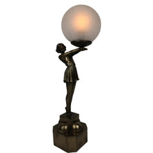 Lady Admiring Art Deco Table Lamp