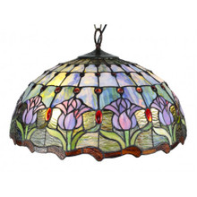 Pink and Blue Tulip Tiffany Pendant Light