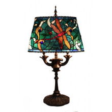 Oval Dragonfly Art Glass Table Lamp