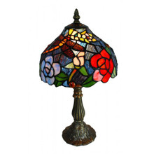 Rose Bush Art Glass Table Lamp