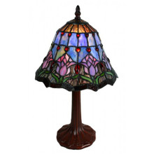 23cm Pink Tulip with Blue Mist Art Glass Table Lamp