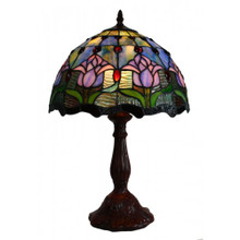 40cm Pink Tulip with Blue Mist Art Glass Table Lamp
