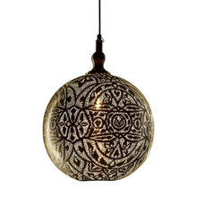 Moroccan Silver Ball Pendant Lamp - Turned on