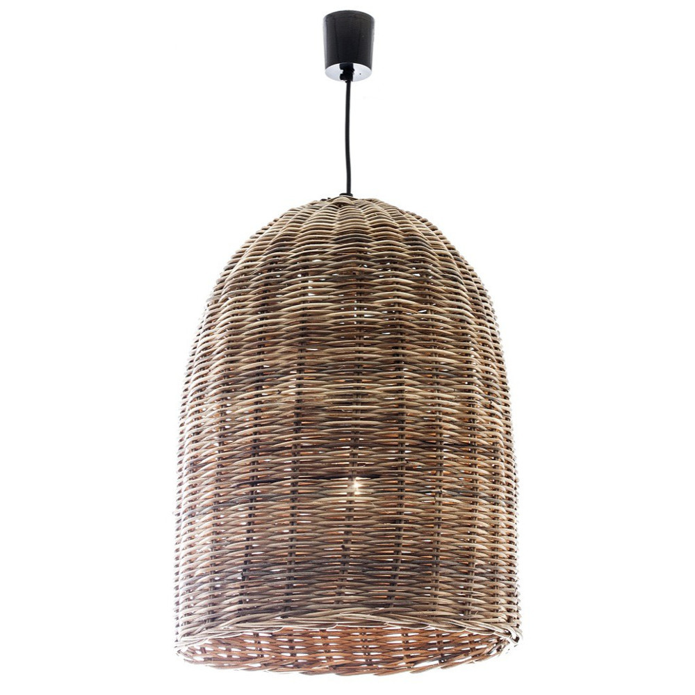 Wicker bell hanging pendant light zest lighting