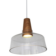 Nordic Fat LED Wood Glass Pendant