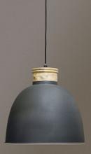 Wood Top Iron Dome Pendant