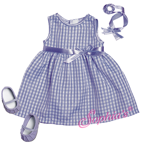 Lavender Gingham Spring Dress & Headband