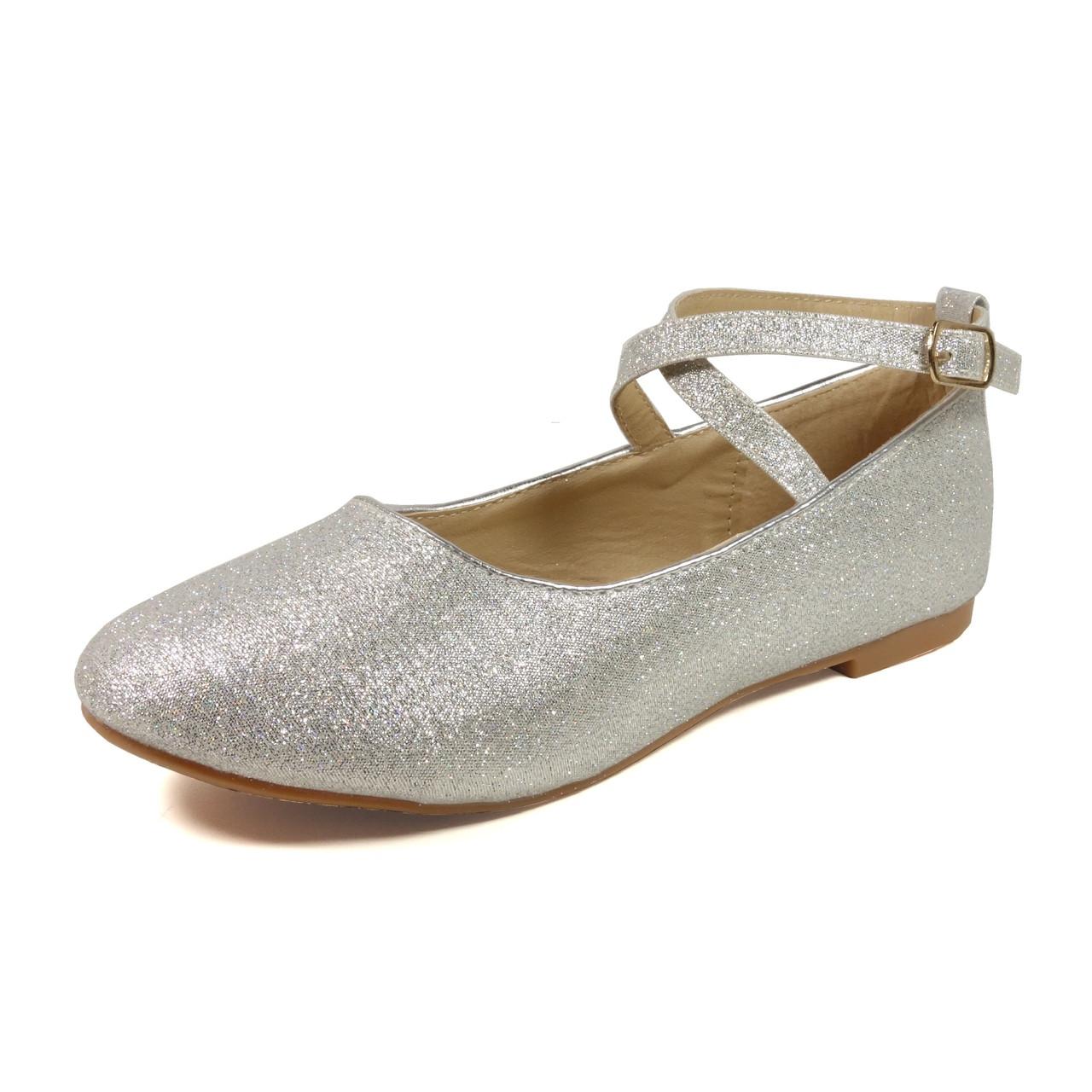 Nova Utopia Toddler Little Girls Flat Shoes - NFGF041 Silver Glitter ...