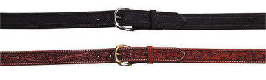 "Standard pants belt with 5 holes of adjustment. Lined standard. For dress and pistol carry. 1"", 1 1/4"", or 1 1/2"" wide."