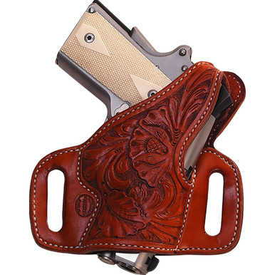 "High Ride slide holster with thumbreak. Flat-Back construction provides the most comfortable all-day ride possible  1 3/4"" belt slots standard Hand boning standard (stamped and floral holsters will not be boned) Blocked sight channel Available for most Semi-Automatics, Single Actions, and Double Actions."