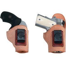 "his two piece inside-the-pants holster can be worn in various positions. The two piece  design forms a natural sight channel. 1 3/4"" belt clip (fits 1 1/4"", 1 1/2"", and 1 3/4"" belts) Roughout construction clings to clothing, keeping the holster in its place Rear flap keeps sights and hammer from body contact Available for most Semi-Automatics, Single Actions, and Double Actions."