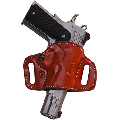 """This holster features Flat-Backed construction for the most comfortable ride possible. Tesnion screw adjustment allows for customized pistol fit. 1 3/4"""" belt slots standard Hand boned for fit and finish (stamped and floral carved holsters will not be boned) Blocked sight channel Available for Semi-Automatics, Single Actions, and Double Actions"""