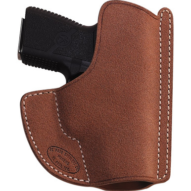 """Luxurious horsehide providers a long-lasting roughout surface for this pocket holster.  The """"grip tip"""" at the top of the holster clings to the top edge of the pocket, which allows for easy pistol seperation.  Smooth interior is kind to the finish of the handgun.  Provided in a natrual medium brown finish.   Available for J-2"""", Detective 2"""", Agent 2"""", Kahr PM-9, Kahr K-9, Tomcat, NAA .380, 1911 3"""", PPK, Glock 26/27, Kel-Tec 3AT, Seacamp, and AMT Backup."""