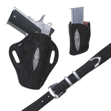 Each Exotic Crosshair holster is leather lined and covered on both the front and the back with your choice of skins.  The holster features a tension screw and hand molding to bring out both the form of the gun and the beauty of the hide.