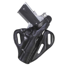 A versatile two-way thumbreak holster that can be used on or off duty.  Flat-back construction makes this holster perfect for all day wear. Tension screw  1 3/4 belt slots Two positions Flat-back construction Hand boned for fit and finish (stamped and floral carved holsters will not be boned) Available for 1911, Commander, 92/96, Glock 17/22, Glock 19/23, Glock 26/27, Sig 220/226, Sig 229, P-2000, USP 45C, Ruger P85/P89/P90, Taturus 24/7, and J2