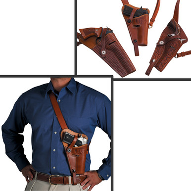 """This tanker style shoulder holster is ideal for hunters, ATV drivers, and helicopter pilots.  The pistol remains out of the way when sitting or using a rifle, but is still easily accessible when needed. Tie down strap location will vary according to the type and length of the pistol 5 1/2"""" to 8 3/8"""" barrels Available for most Semi-Automatics, Single Actions, and Double Actions"""