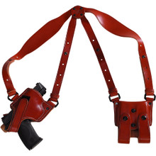"""Our fully concealed shoulder rig, ideal for plain clothes carry. Fully adjustable harness Double security with detachable """"extra safe strap"""" Includes harness, holster, and ammo carrier Available in black and brown Available for Automatics and Revolvers."""