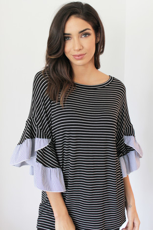 Ruffle Trim Short Sleeve Tunic