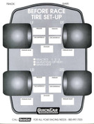 Tire Setup Chart - Before Race - 50 Sheets in a Pad - Each