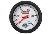 Gauge - Oil Pressure - Extreme - 0-100 psi - Mechanical - Analog - 2-5/8 in Diameter - White Face - Built In Warning Light - Each