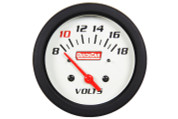 Gauge - Voltmeter - Extreme - 8-18V - Electric - Analog - 2-5/8 in Diameter - White Face - Built In Warning Light - Each